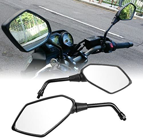 OKSTNO Custom Black Twisted Flame Motorcycle Rear View Side Mirrors Cruiser Bolts Fits for Most Suzuki Honda Kawasaki Cruisers Touring Bikes Sport Bike Scooters