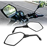 OKSTNO Heavy Duty Motorcycle Rear View Side Mirrors-10mm Clockwise Threaded Mounting Bolt-Fits for Kawasaki, Suzuki, Honda, Victory and More-Pair
