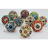 #9: Dorpmarket 10 Pieces Set Dotted Ceramic Cabinet Colorful Knobs Furniture Handle Drawer Pulls