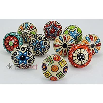 dorpmarket 10 pieces set dotted ceramic cabinet colorful knobs