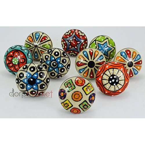 Dorpmarket 10 Pieces Set Dotted Ceramic Cabinet Colorful Knobs Furniture Handle Drawer Pulls - Ceramic Drawer
