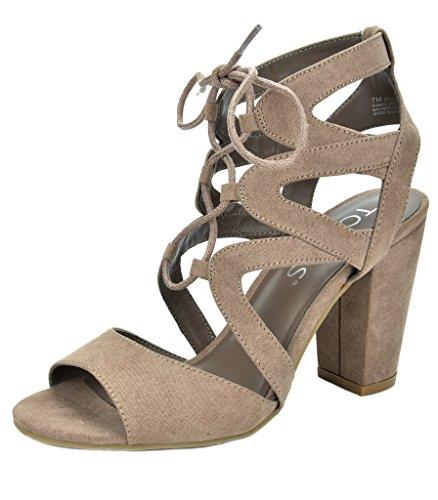 TOETOS Women's Stella-03 Taupe Open Toe High Chunky Heel Pump Sandals - 9 M US Gladiator High Heel