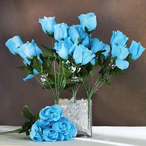 Efavormart 84 Artificial Buds Roses for DIY Wedding Bouquets Centerpieces Arrangements Party Home Decoration Supply - Turquoise (Turquoise Flower Arrangements)