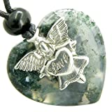 Guardian Spirit Angel Love Heart Good Luck Amulet Moss Agate Gemstone Pendant Necklace