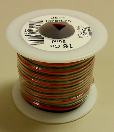 Amazon.com: 16AWG Red & Black Bonded Copper Speaker Wire 25\' Roll ...
