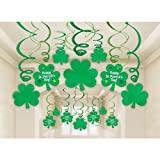 Amscan Lucky Irish Green St. Patrick's Day Foil Swirl Party Decoration Mega Value Kit, Green, One Size