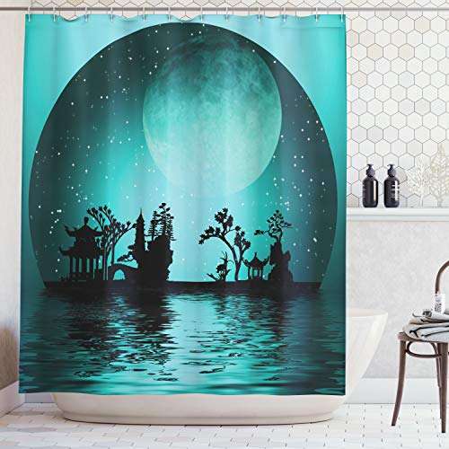 - Ambesonne Asian Decor Collection, Asia Landscape with Moon Stars Night Sky Holiday Festival Artistic Design, Polyester Fabric Bathroom Shower Curtain, 75 Inches Long, Dark Teal Black