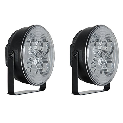 (Pilot NV-2038W 4 Inch, Round Daytime Running/Accent LED Lights - Set of 2 - Fits Cars Sedan SUVs Including Toyota, Honda, Ford, Audi, VW, BMW, Mercedes Benz)