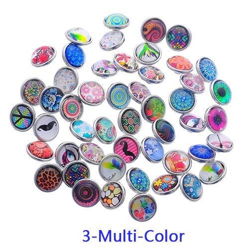 ywbtuechars DIY Charms 10 Pcs Mixed Mini Glass Snap Buttons for Bracelet Pendant Cute Decoration Snaps - Multi-Color