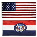 US Flag with Missouri State Flag 3 x 5 – 100% American Made – Nylon For Sale