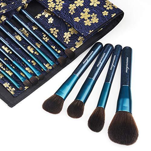 Makeup Brush Set with Travel Bag Case, 12pcs Premium Cosmetic Makeup Brushes for Foundation Blending Blush Concealer Eye…