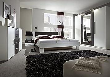 Schlafzimmer komplett 4-teilig 54023 weiß / nussbaum schwarz: Amazon ...
