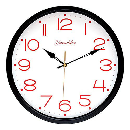 Price comparison product image Newest G662 12 Inches Metal Frame Fashion Sweet Heart Design Lady Love Black Hands Round Wall Clock Decorative Wall clock (Black frame)