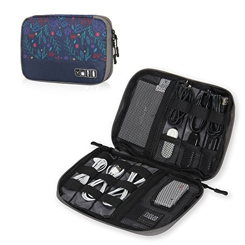 Hynes Eagle Travel Universal Cable Organizer Electronics Accessories Cases for Various USB Phone Charger and Cable Roses