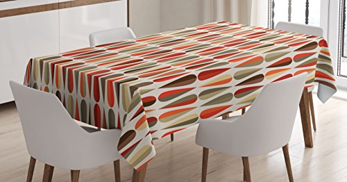 Retro Decor Tablecloth by Ambesonne, Home Decor 60s 70s Style Geometric Round Shaped Design with Warm Colors Print, Dining Room Kitchen Rectangular Table Cover, 52 W X 70 L Inches, (70s Party Clothes Ideas)