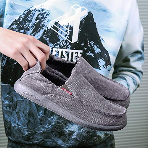Mocassins Chaussures Toile Hommes Vintage Pour Sneakers En Hang Cuir Mocassin Occasionnels Gray Fqd0Sw