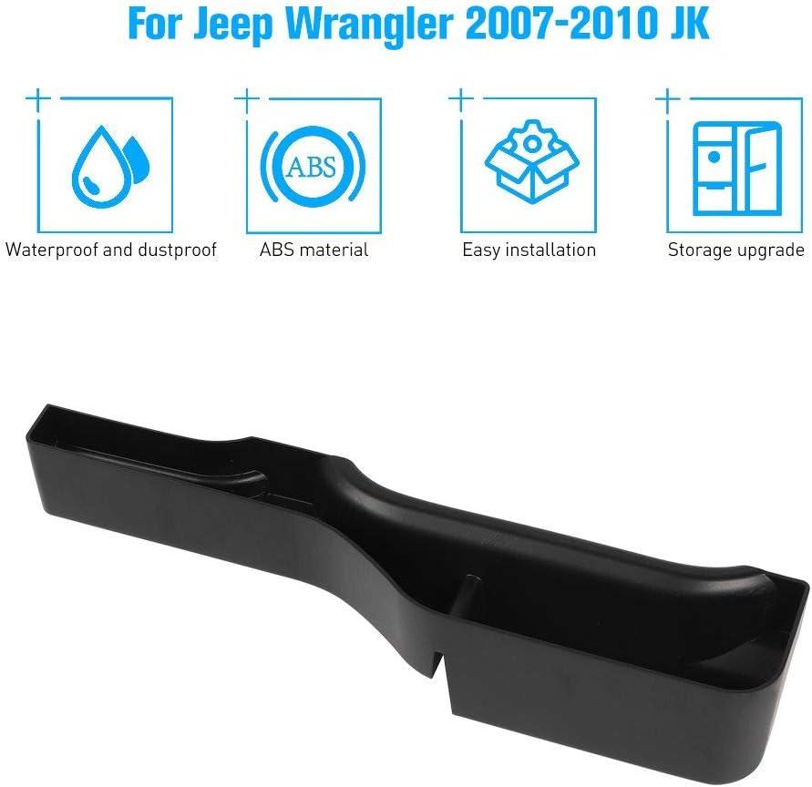Black JeCar Storage Tray Gear Shift Storage Organizer Interior Accessories for 2007-2010 Jeep Wrangler JK JKU