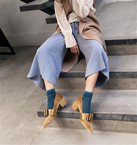 Damenschuhe Samt Blockabsatz Bowknot Geschlossene Zehe Pumpengröße 35 bis 38 gray