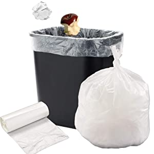 APQ Large Trash Bags Kitchen Garbage Bags - 20-30 Gallon White Trash Bags Strong Wastebasket Liners for Bathroom, Kitchen, Office Trash Can Liners