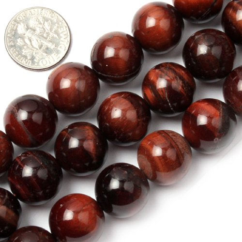 14mm Round Bead Strand - 14mm Round red tiger eye stone beads strand 15