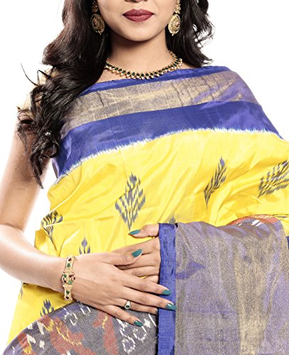 Mandakini — Indian Women's Pochampally - Handloom - Ikat Pure Silk Saree (Yellow ) (MK362) by Mandakini (Image #2)