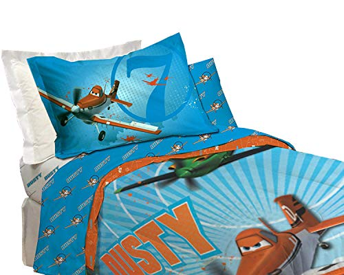 "Disney Planes Microfiber Sheet Set - Single/Twin [Blue] Kids Comfortable Bedding Set 66"" X 96"""