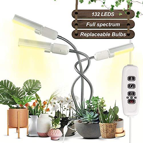 Grow Light, Grow Lamp, Plant Light Full Spectrum Replaceable Led Bulb 3/9/12H Timer 132 LEDs Gooseneck Desk Lamp with 9 Modes for Indoor Plants (White)
