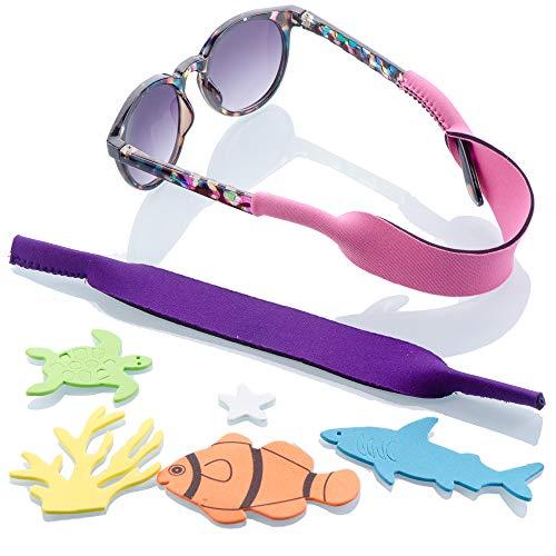 Baby Glasses and Sunglasses Strap 2pk | Active Kids with Bonus Stickers (Purple + ()