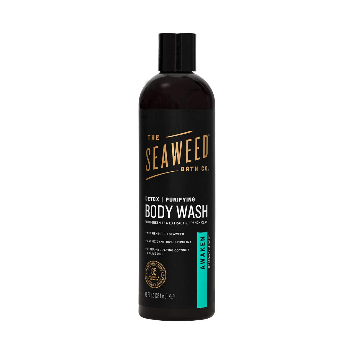 The Seaweed Bath Co. Purifying Detox Body Wash, Awaken Scent (Rosemary and Mint), Natural Organic Seaweed, Vegan, Paraben Free, 12 oz.