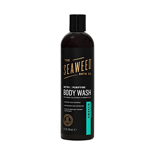 The Seaweed Bath Co. Purifying Detox Body Wash, Awaken Scent (Rosemary and Mint), Natural Organic Seaweed, Vegan, Paraben Free, 12 oz.