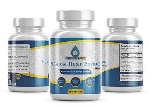 Premium Hemp 600mg- 30 ct- 40 mg per Serving- Full Spectrum Hemp Extract- Promotes Anxiety Relief, Reduces Stress and Chronic Pain, Anti-Inflammatory by Natures Key