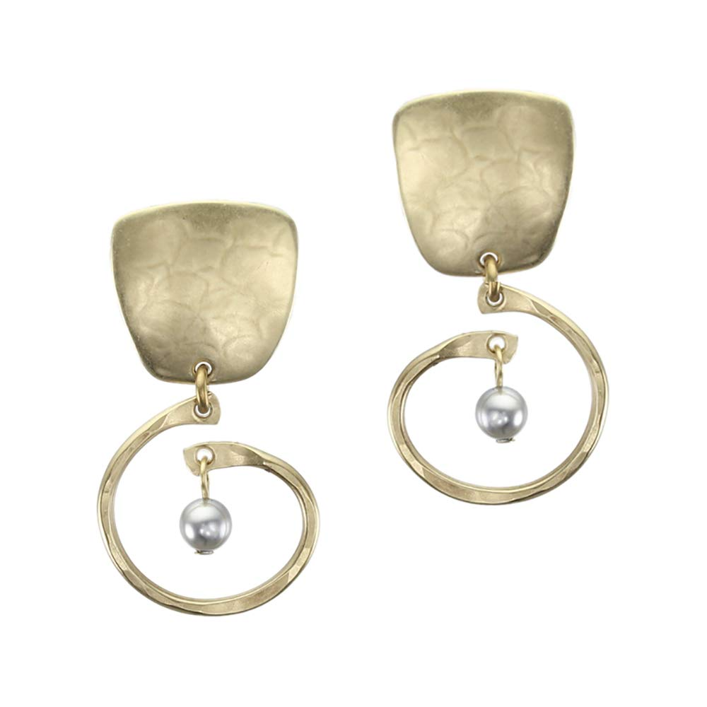 Marjorie Baer Tapered Square with Small Hammered Spiral and Grey Pearl Clip Earring