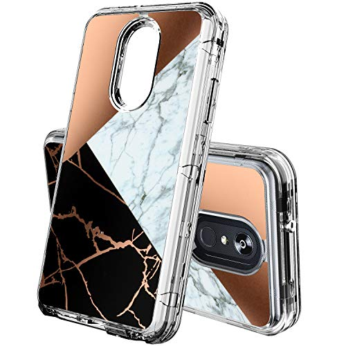 LG Stylo 4 Phone Case,ACKETBOX Shockproof Armor Marble Design Heavy Duty Full Body Protective Cover Sturdy PC Case Clear Bumper +Transparent TPU for LG Stylo 4/LG Q Stylus/LG Stylus 4(Marble-01) -