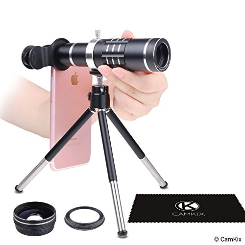 Universal 3in1 Lens Kit with 18x Telephoto + Macro + Wide Angle Lenses - Awesome Mobile Photography for Apple iPhone, Samsung Galaxy, etc. - Locking Lens Clip - Adjustable Tripod (for Telephoto Lens)