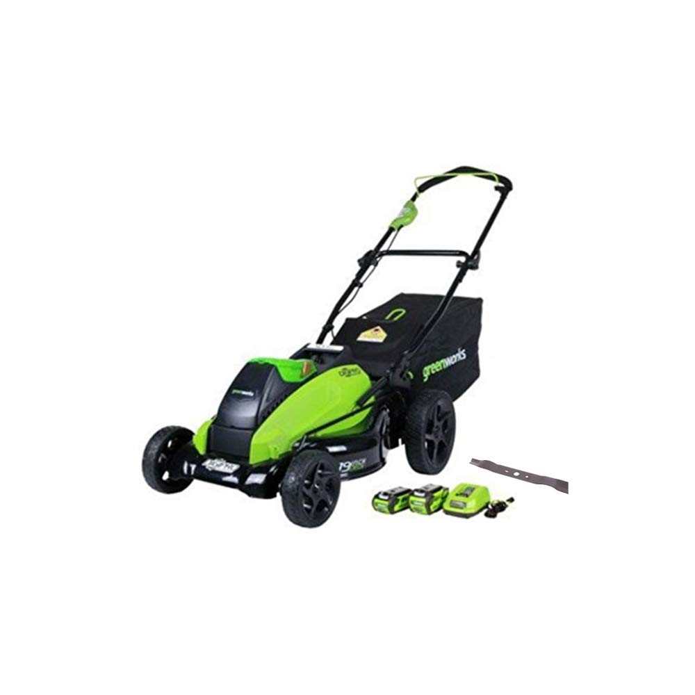 GreenWorks 19-Inch 40V Cordless Lawn Mower + Extra Blade, (1) 4Ah (1) 2Ah Batteries and Charger Included 2519302AZ by Greenworks