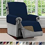 Sofa Shield Original Patent Pending Reversible Recliner Slipcover, Dogs, 2' Strap/Hook Seat Width Up to 28' Washable Furniture Protector, Slip Cover Throw for Pets, Kids, Cats (Recliner: Navy/Sand)