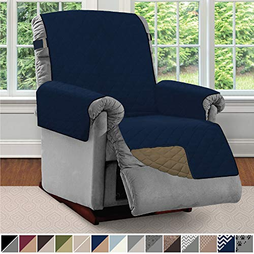 "Sofa Shield Original Patent Pending Reversible Recliner Slipcover, Dogs, 2"" Strap/Hook Seat Width Up to 28"" Washable Furniture Protector, Slip Cover Throw for Pets, Kids, Cats (Recliner: Navy/Sand)"
