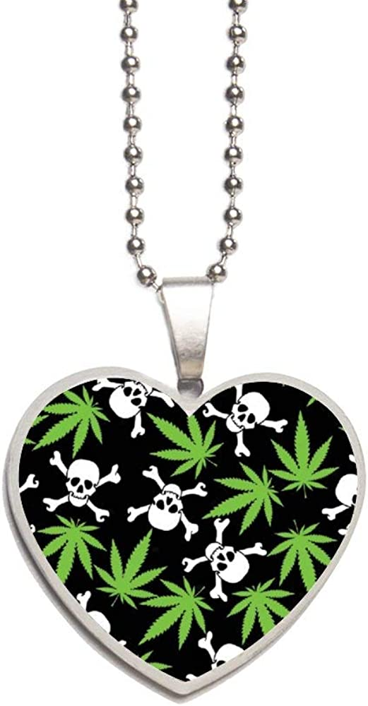 Cannabis Leafs Skulls Marijuana Weed Necklace Personalized Engraved Heart Custom Gift Pendant-Valentines Day Love