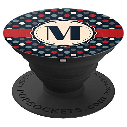 - Vintage and Personalized Polkadot Monogram Letter M Initial - PopSockets Grip and Stand for Phones and Tablets