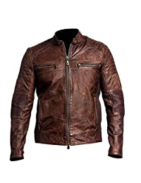Men's Biker Vintage Style Cafe Racer Wax Distressed Brown Leather Jacket BNWT