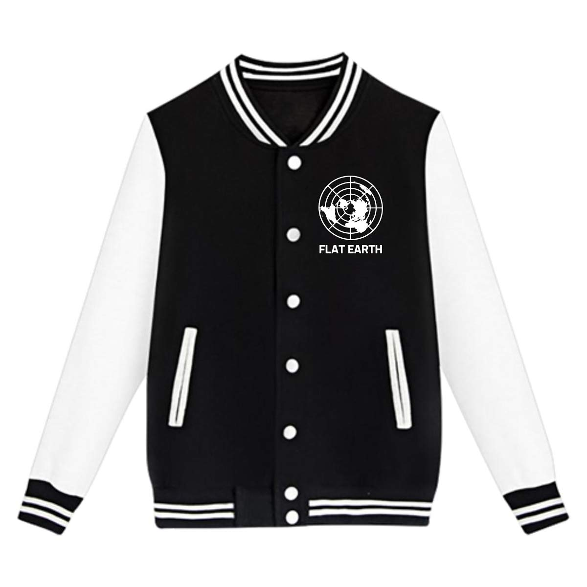 Tina TN Flat Earth Society Teens Boys Girl Varsity Baseball Jacket Long Sleeve Sport Baseball Uniform Jacket Coat Sweater Black