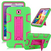 """Samsung Galaxy Tab 4 7.0 Case, Jwest [Kickstand] Full-body Rugged Hybrid Protective Dual Layer Design/Impact Resistant Bumper Case for Samsung Galaxy Tab 4 7.0"""" inch T230 (Green+Rose)"""