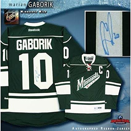 Image Unavailable. Image not available for. Color  Marian Gaborik Signed  Jersey - Green Reebok - Autographed NHL Jerseys 8c43f0d58