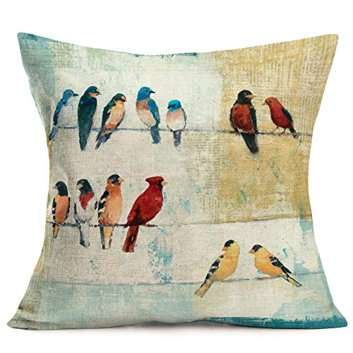 Royalours Vintage Rustic Wooden Grain with Watercolor Bird Rest on The Electric Wire Decorative Pillow Covers Cotton Linen Square Cushion Cover Home Decor Throw Pillowcase 18x18 inch (Wood Bird)