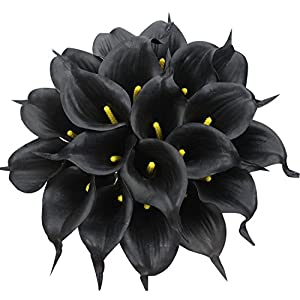 JUSTOYOU 20PCS Artificial Calla Lily Real Touch Latex Flower Blossom for Bridal Wedding Bouquet Home Decoration(Black) 100