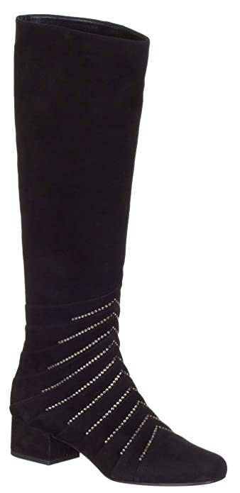Saint Laurent Women s Black Suede  Lily  Embellished Crystals Knee Boots  Shoes d69456ac18