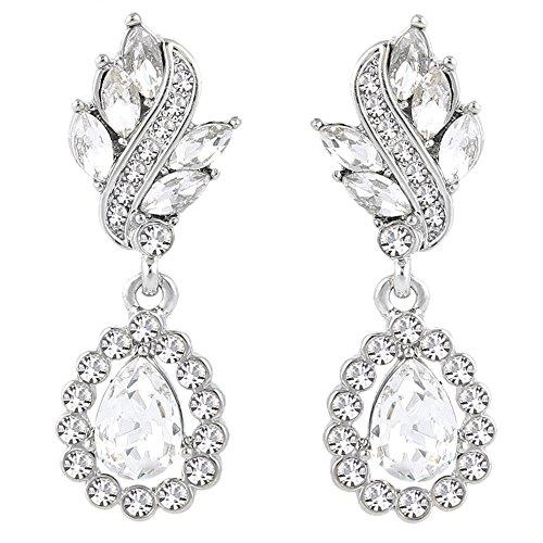 EleQueen Women's Austrian Crystal Art Deco Tear Drop Dangle Earrings Clip-on Silver-tone ()