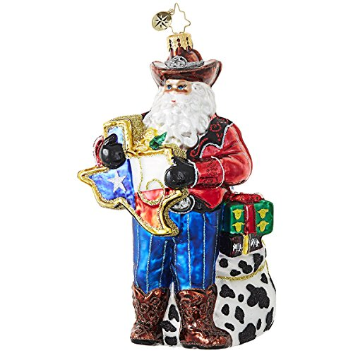 Christopher Radko Everything's Bigger in Texas Santa - State of Texas Themed Glass Ornament (State Themed Gifts)
