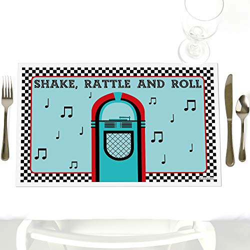 50's Sock Hop - Party Table Decorations - 1950s Rock N Roll Party Placemats - Set of 12 ()