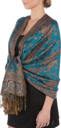 Sakkas Double Layer Jacquard Paisley Pashmina Shawl/Wrap / Stole - Turquoise
